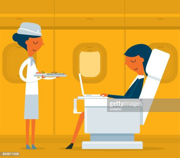 business class - businesswoman - business travel stock illustrations, clip art, cartoons, & icons