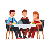 Business client meeting at restaurant table. Flat vector clipart illustration
