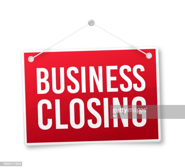business closing sign - sign stock illustrations