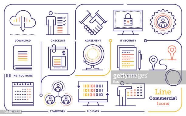 business & commerce insurance line icon set - inflation stock illustrations