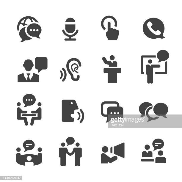 business communication icons - acme series - showing stock illustrations