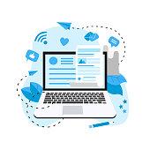 Business, communication, internet blogging post. Flat design vector illustration.