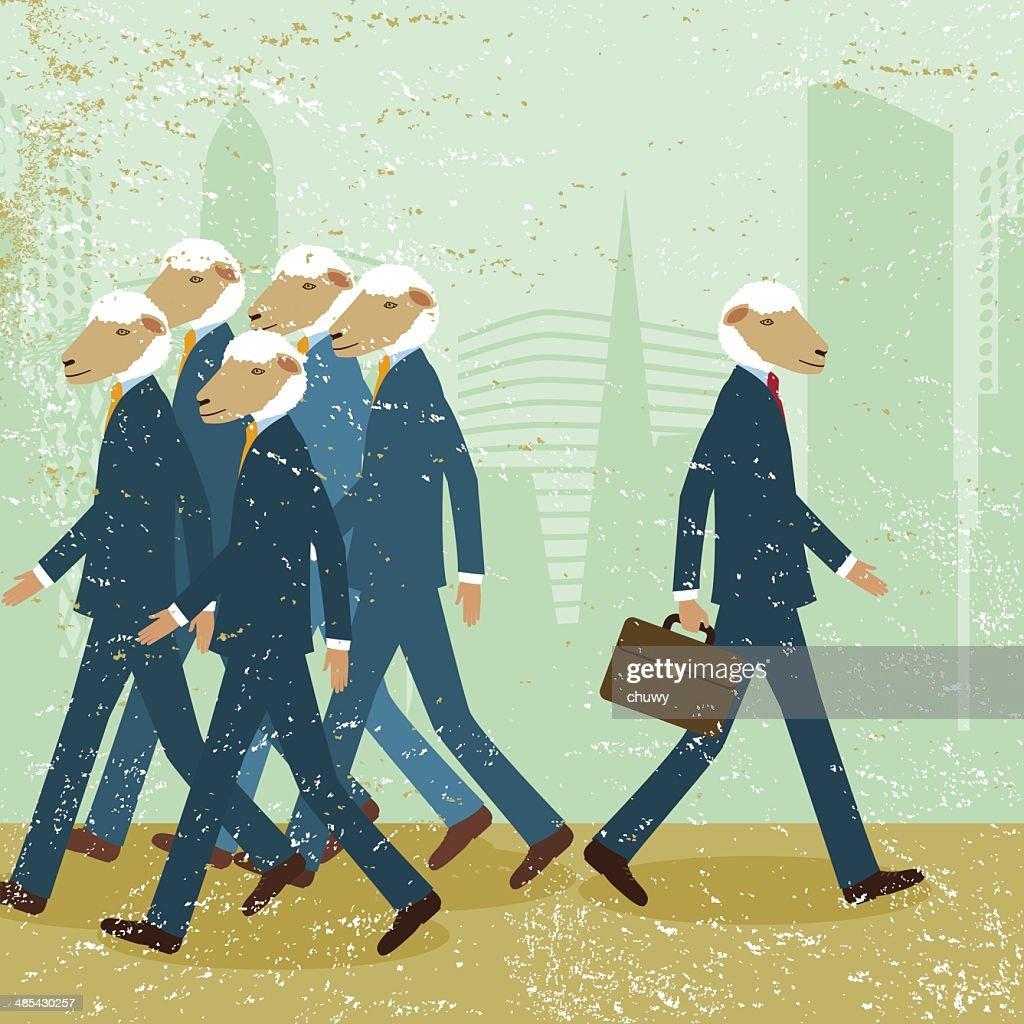 Business company businessmen upstream against the tide opposite animal