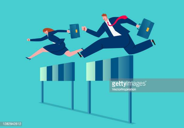business competition and challenge, male businessman and businesswoman hurdle race, business concept illustration - forward athlete stock illustrations
