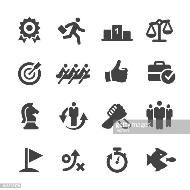 business competition icons set - acme series - winners podium stock illustrations