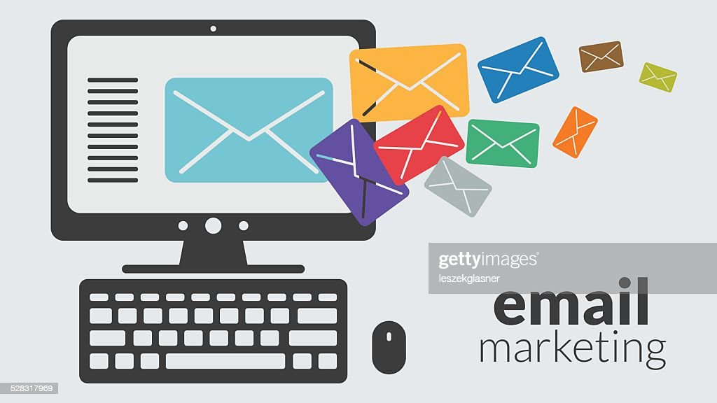 Business computer with email marketing. Vector online advertising