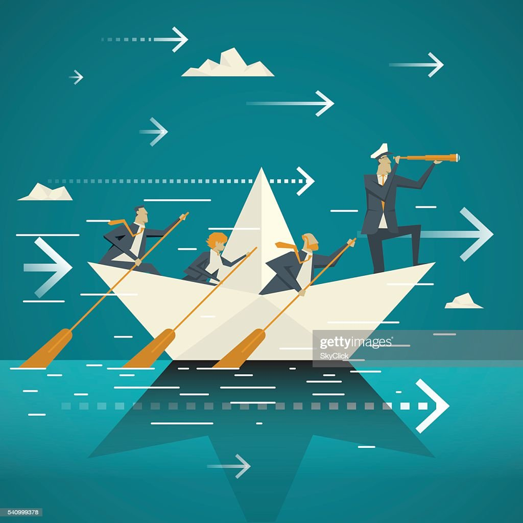 Business Concept. Business Team Together rowing the boat across the ocean.