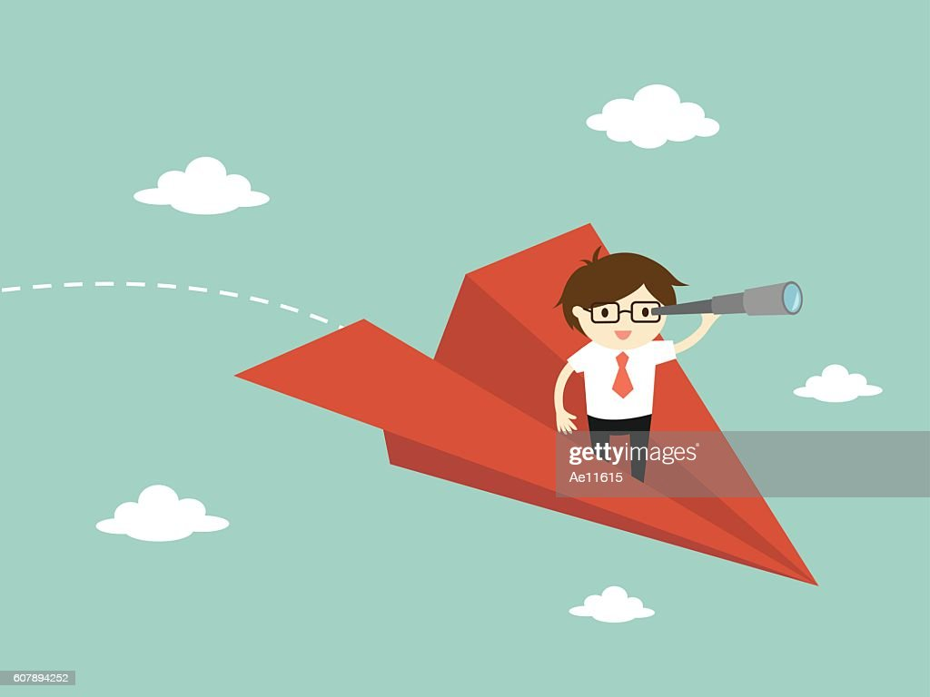 Business concept, Businessman is flying while using telescope.