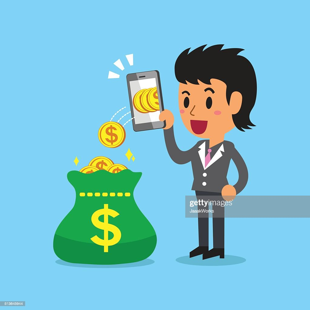 Business concept businesswoman using smartphone to earn money