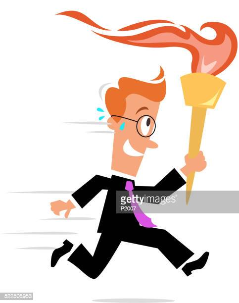 business concept - carrying a torch - sport torch stock illustrations, clip art, cartoons, & icons