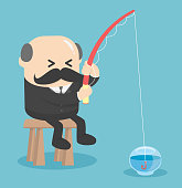 Business Concept Cartoon  fishing in the empty fish tank .worthless.Useless