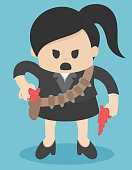 business Concept Cartoon Illustration. business woman in suit holding guns