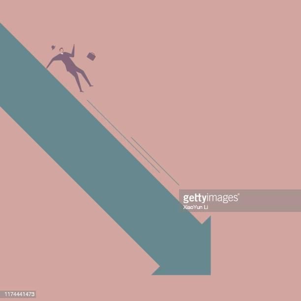ビジネスコンセプトデザイン、ビジネスマンは矢印記号から滑り降りる。 - おびえる点のイラスト素材/クリップアート素材/マンガ素材/アイコン素材