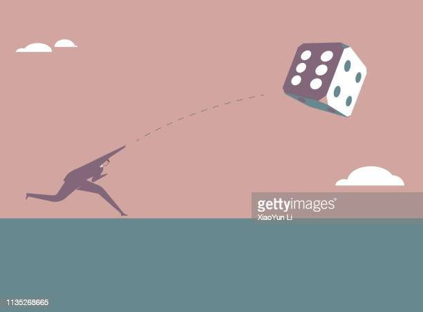 business concept design. businessman throws a dice. - gambling addiction stock illustrations