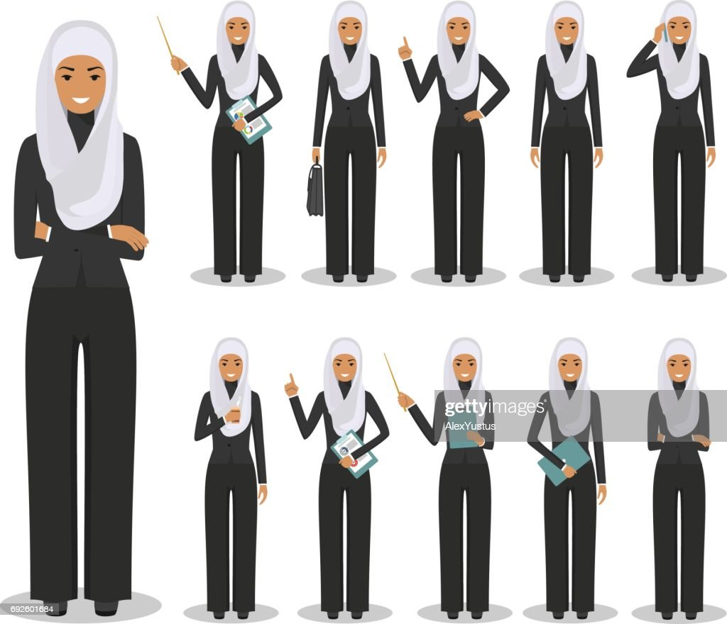 Business concept. Detailed illustration of muslim arabian businesswoman standing in different positions in flat style isolated on white background. Vector illustration