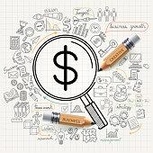 Business concept doodles icons set.