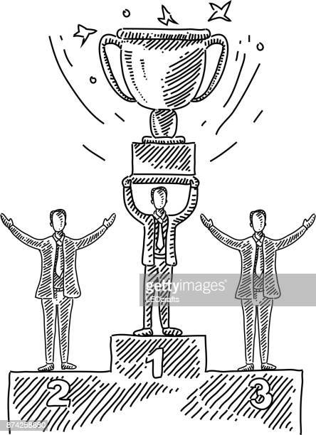 business concept drawing - winners podium stock illustrations