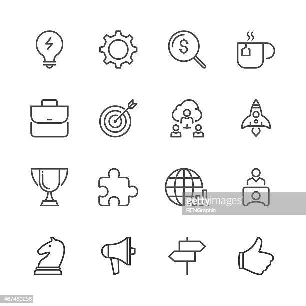 Business concept icon set shown by line icon series
