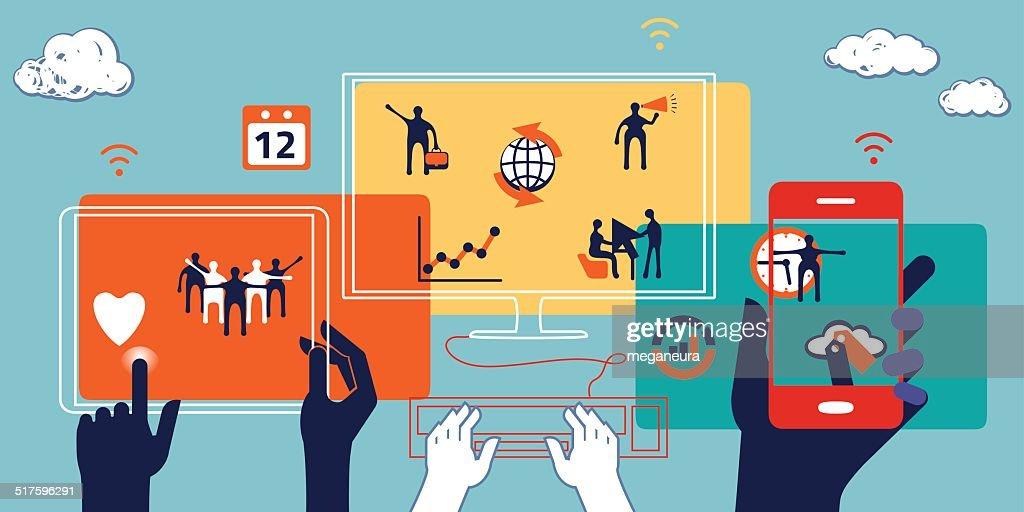 Business concept. Illustration of collaboration, teamwork