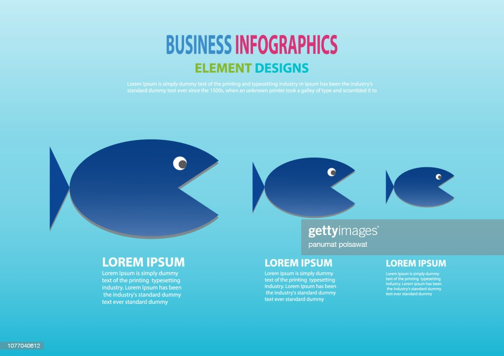 Business concept of Big Fish chasing Small fish as big company chasing small company. illustration, Vector, EP10.