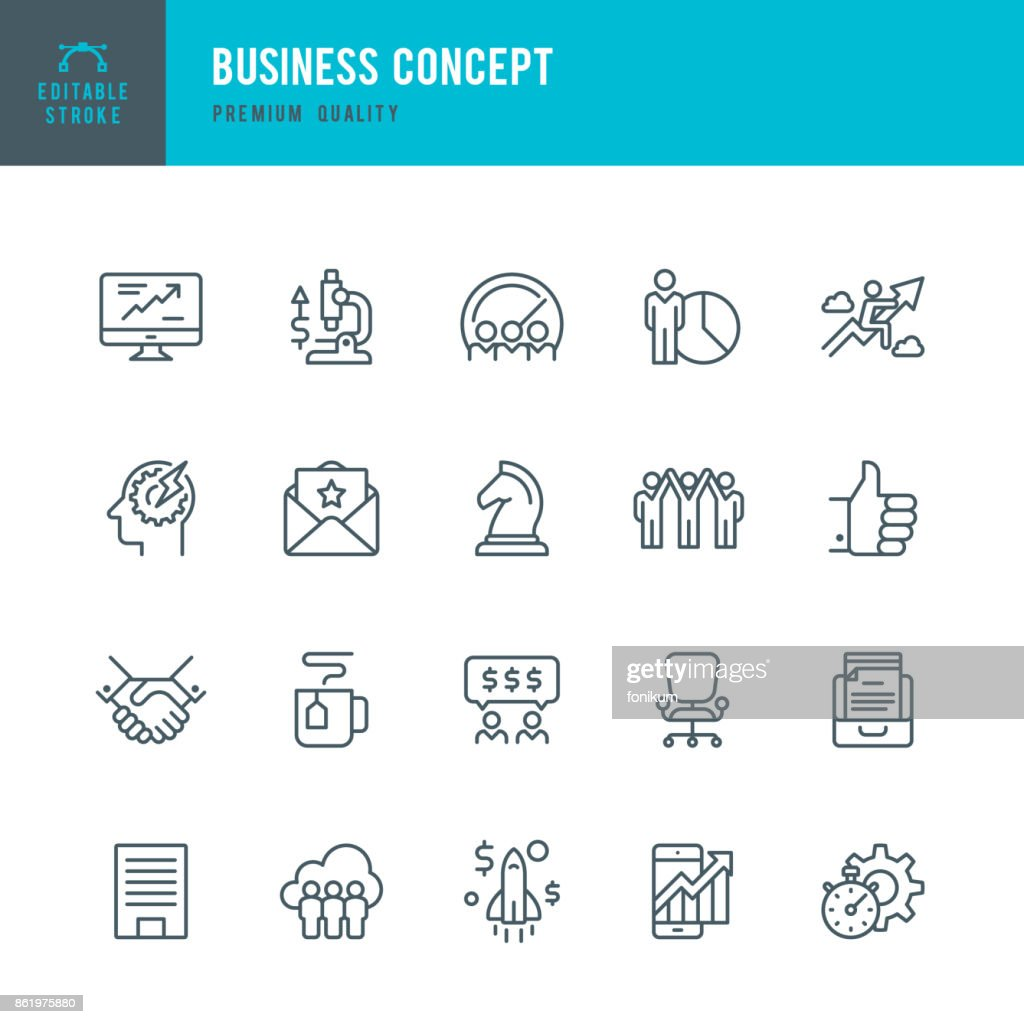 Business Concept - set of thin line vector icons : stock illustration