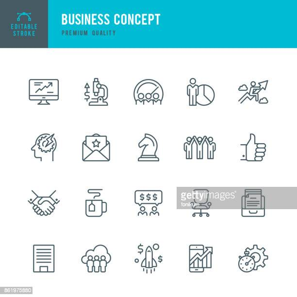 Business Concept - set of thin line vector icons