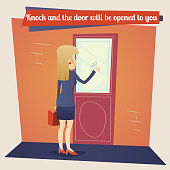 Business Concept Template Businesswoman with Briefcase Knocking at Customer Door