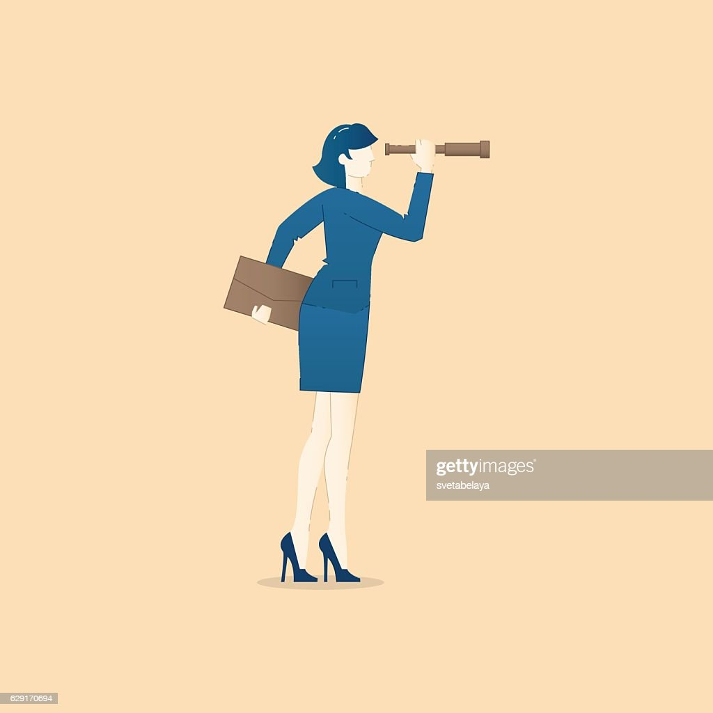 Business concept vector illustration of business woman looking through spy-glass