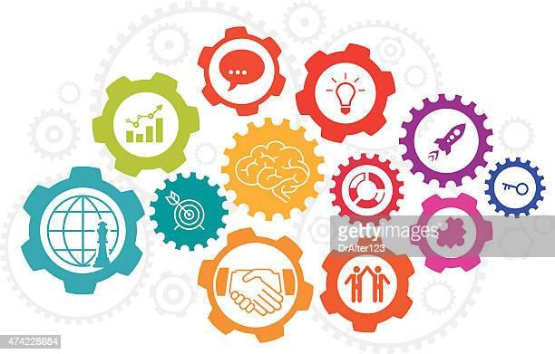 ビジネスコンセプトアイコンを設定します。 - 解決策点のイラスト素材/クリップアート素材/マンガ素材/アイコン素材