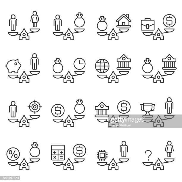 business concepts icon set - equal opportunity stock illustrations, clip art, cartoons, & icons