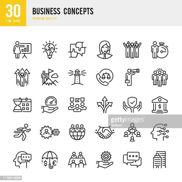business concepts - set of line vector icons - protection stock illustrations