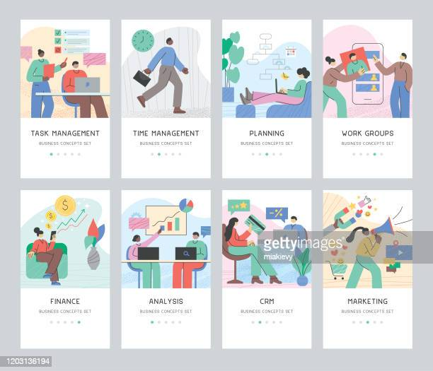 stockillustraties, clipart, cartoons en iconen met business concepts set - illustratie
