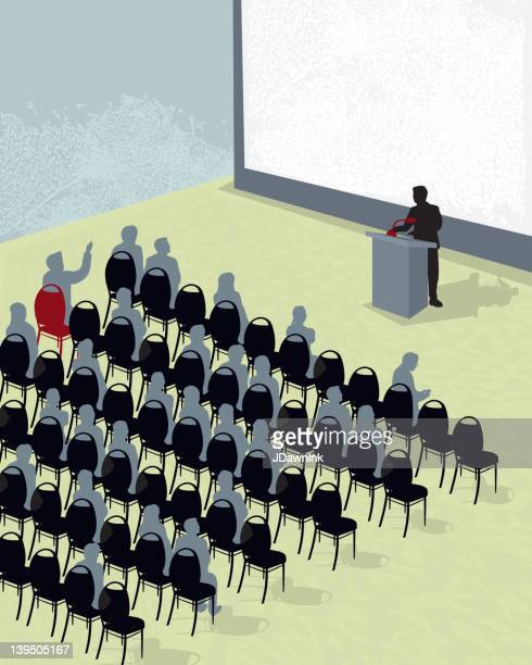 business conference or meeting with speaker - press conference stock illustrations, clip art, cartoons, & icons