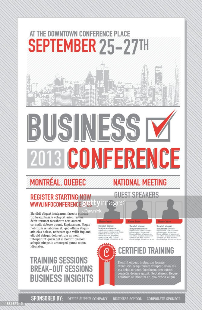 business conference poster design template vector art | getty images, Presentation templates