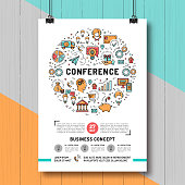 Business conference poster templates A4 size, line art icons