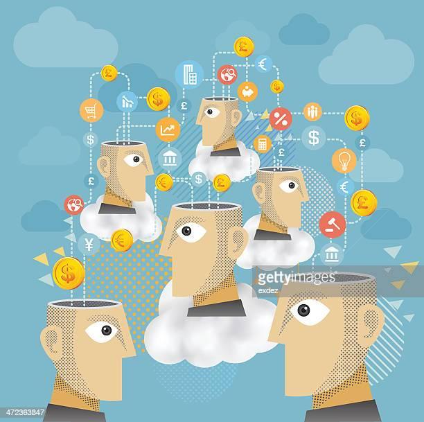 stockillustraties, clipart, cartoons en iconen met business connection - group e