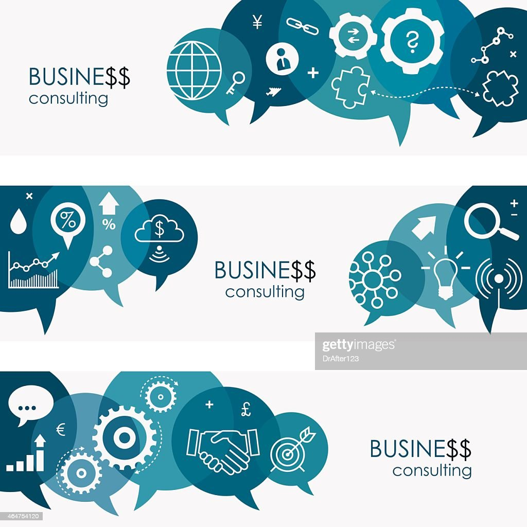 Business Consulting Banners And Icon Set