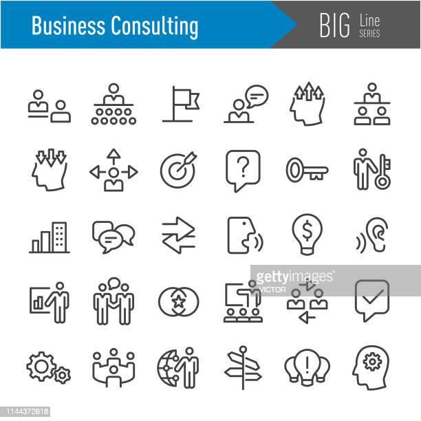 illustrazioni stock, clip art, cartoni animati e icone di tendenza di business consulting icon - big line series - magro