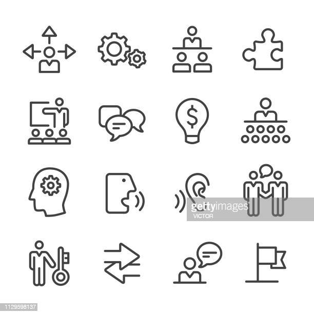 business consulting icon set - line series - listening stock illustrations