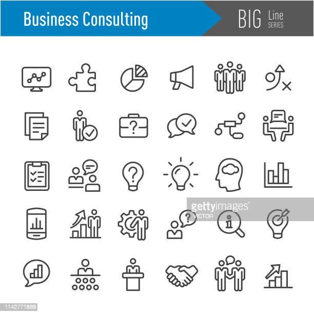 business consulting icons-big line series - gruppe von gegenständen stock-grafiken, -clipart, -cartoons und -symbole
