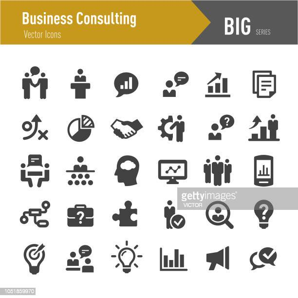business consulting icons - big series - education training class stock illustrations