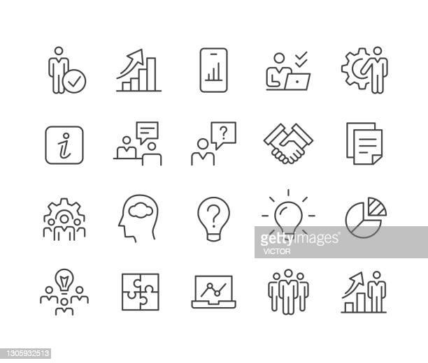 business consulting icons - classic line serie - umschulung stock-grafiken, -clipart, -cartoons und -symbole