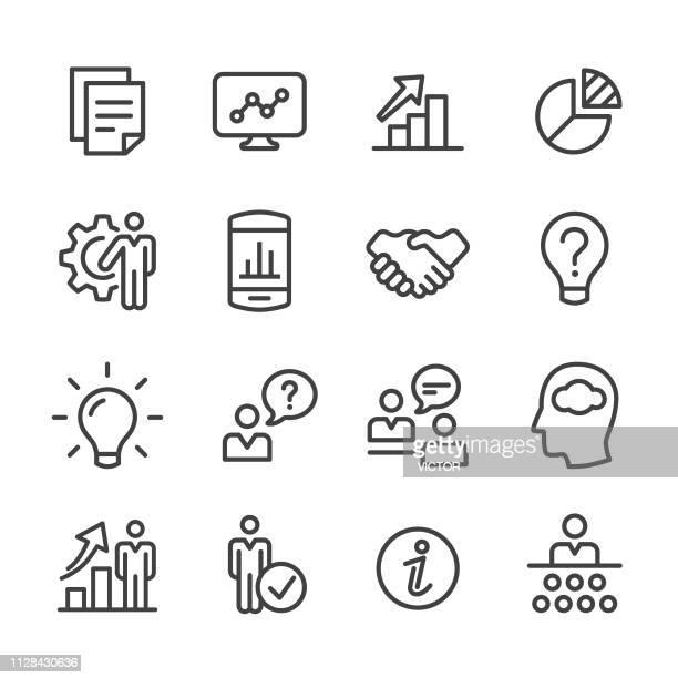 unternehmensberatung-icons - line serie - umschulung stock-grafiken, -clipart, -cartoons und -symbole