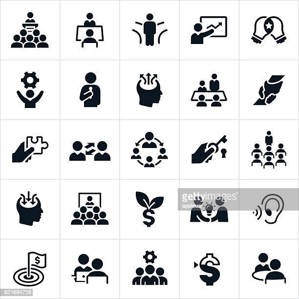 business consulting icons - video conference stock illustrations