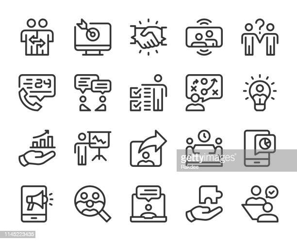 business consulting - line icons - market research stock illustrations
