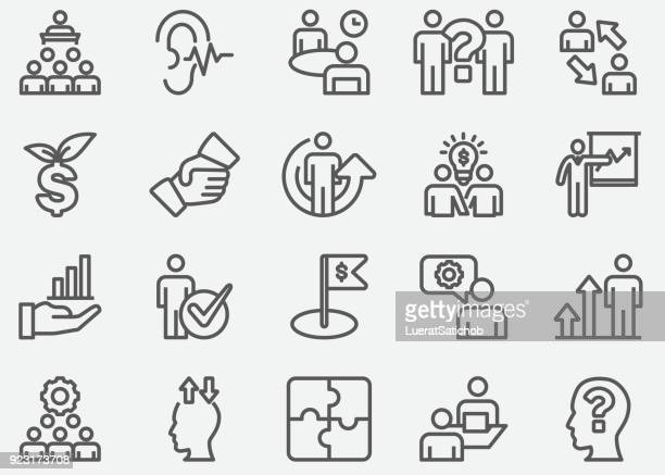 business consulting line icons - solutions stock illustrations, clip art, cartoons, & icons