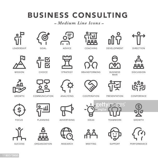ilustrações, clipart, desenhos animados e ícones de consultoria de negócios - ícones da linha média - marcar ponto
