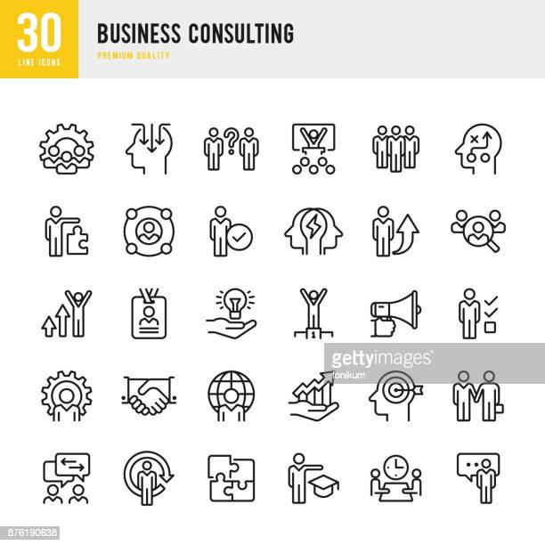 business consulting - set of thin line vector icons - business strategy stock illustrations