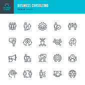 Business Consulting - set of vector line icons