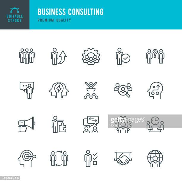 business consulting - set of vector line icons - searching stock illustrations